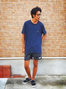 ピルグリムサーフ Tシャツネイビー×サタデーズサーフボードショーツ